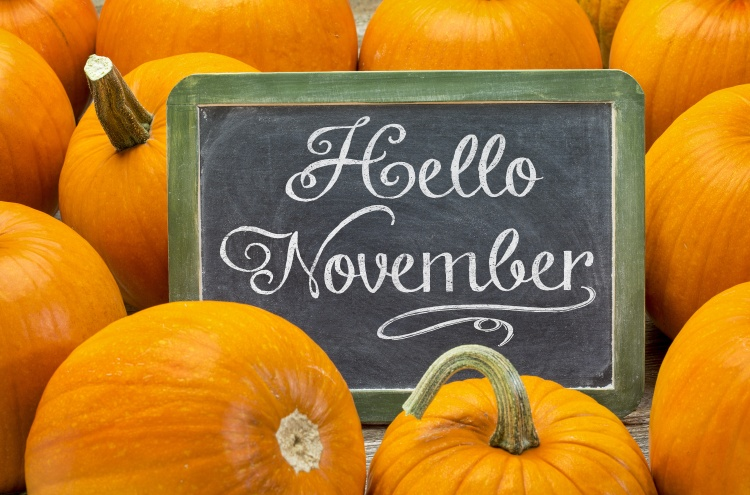Hello November sign on blackboard