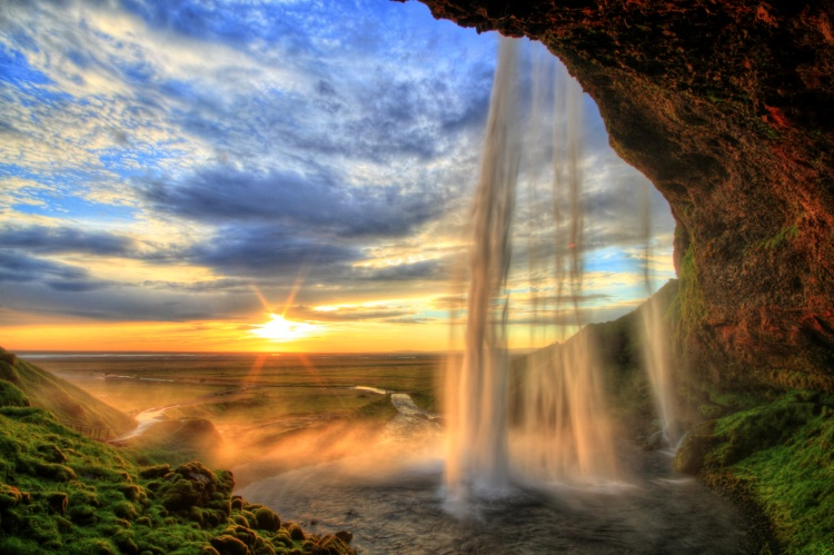 Seljalandfoss waterfall at sunset in HDR, Iceland