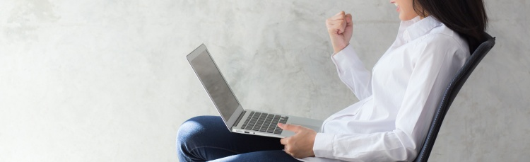 Banner website beautiful asian young woman excited and glad of success with laptop, girl working coffee shop on cement background, career freelance business concept.