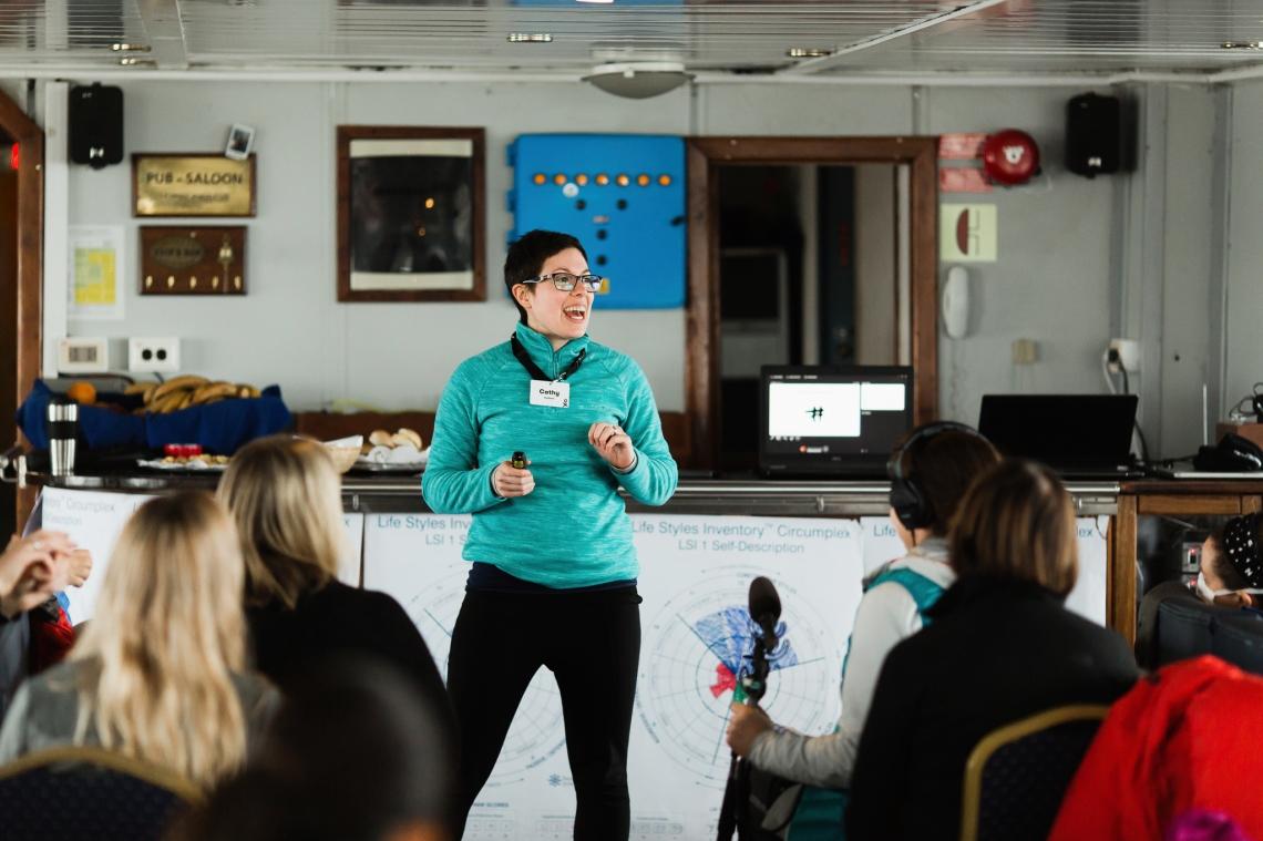 Cathy Sorbara presenting in Antarctica
